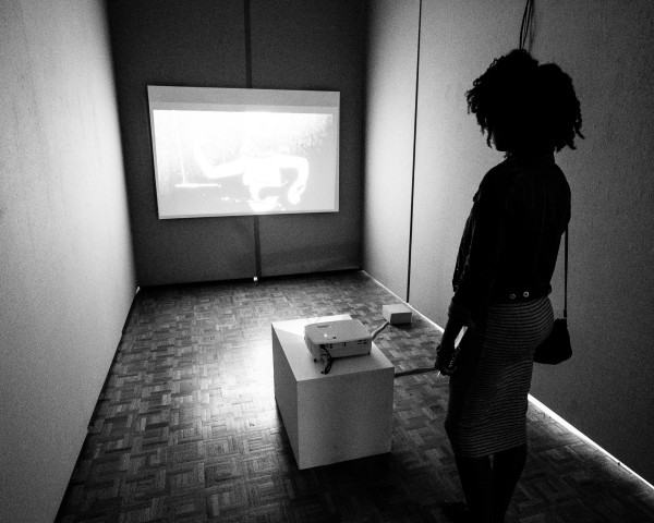 Installation image; Sitting with Clara Rockmore, 2017 Single channel video installation, optical theremin, projector 4 min